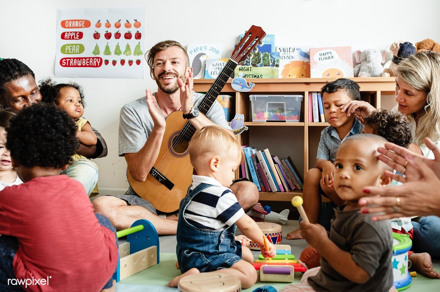 Nursery Children Playing With Musical Instruments In The Classroom Premium Image By Rawpixel Com Church Family Activities Kids Playing Kindergarten Classroom