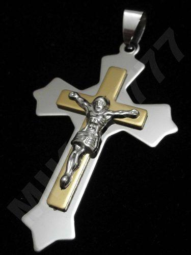 84af16fc3c0 Pingente Masculino Crucifixo Mescla 3D (Prata e Dourado) em Aço inox ...