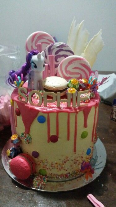 My little pony drip cake Cakes Pinterest Drip cakes and Cake