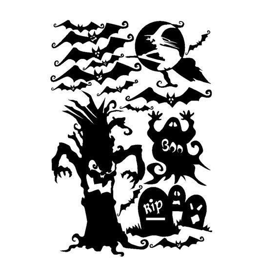 Halloween Window Cling set of Bats, Spooky Tree, Tombstones and More - halloween window clings