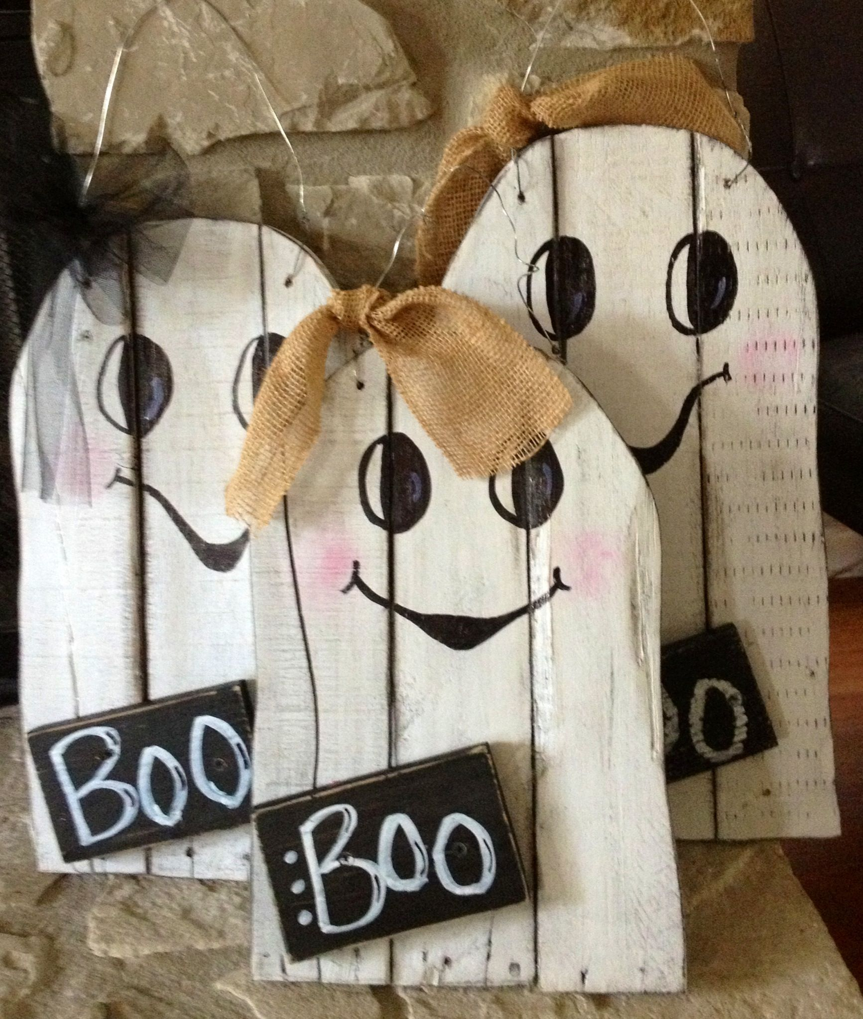 Hanging ghosts 2495 each wood halloween decorations