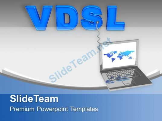 laptop connected with vdsl internet powerpoint templates ppt, Modern powerpoint