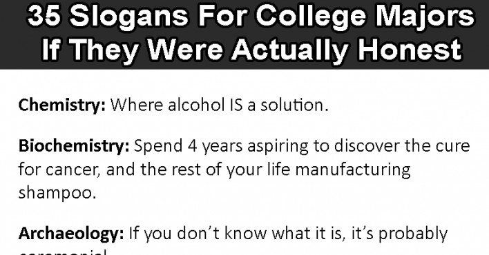 35 Slogans For College Majors If They Were Actually Honest 6 Is So True College Majors Political Science Major College Humor