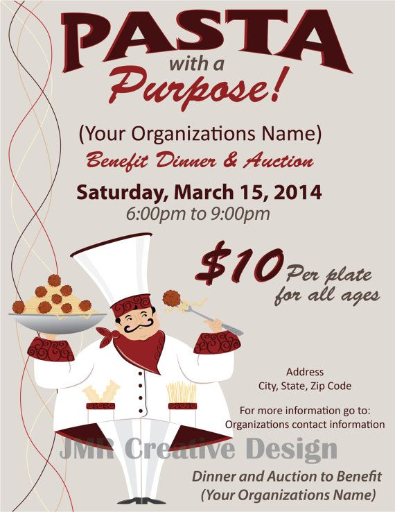Italian Dinner Fundraiser Flyer, Benefit Dinner Flyer, Pasta With A
