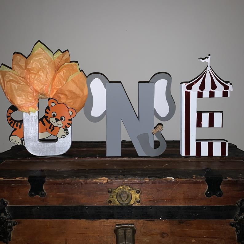 Circus stand up letter carnival party decor animal
