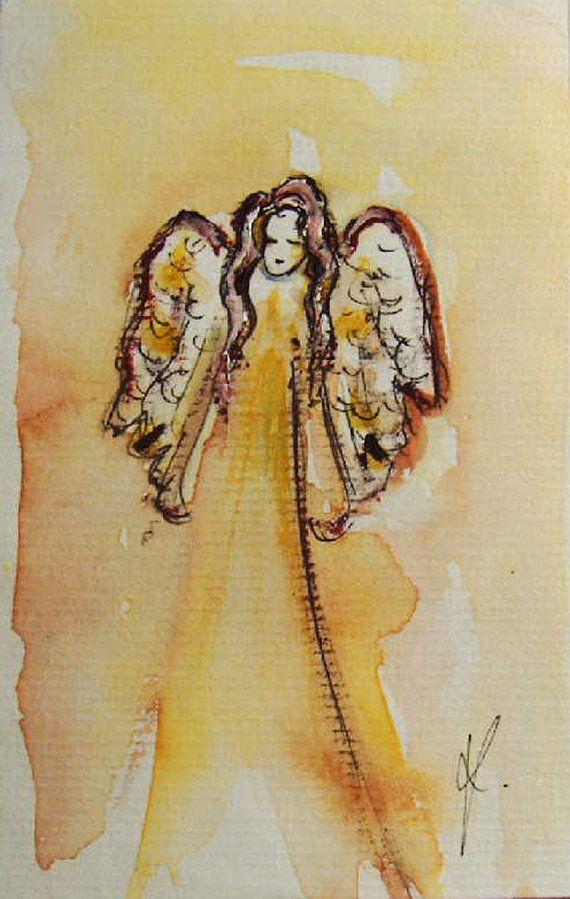 Engel Gemälde, Original Watercolor Painting, Schutzengel, kleine Malerei, Angel Art, spirituelle Kunst