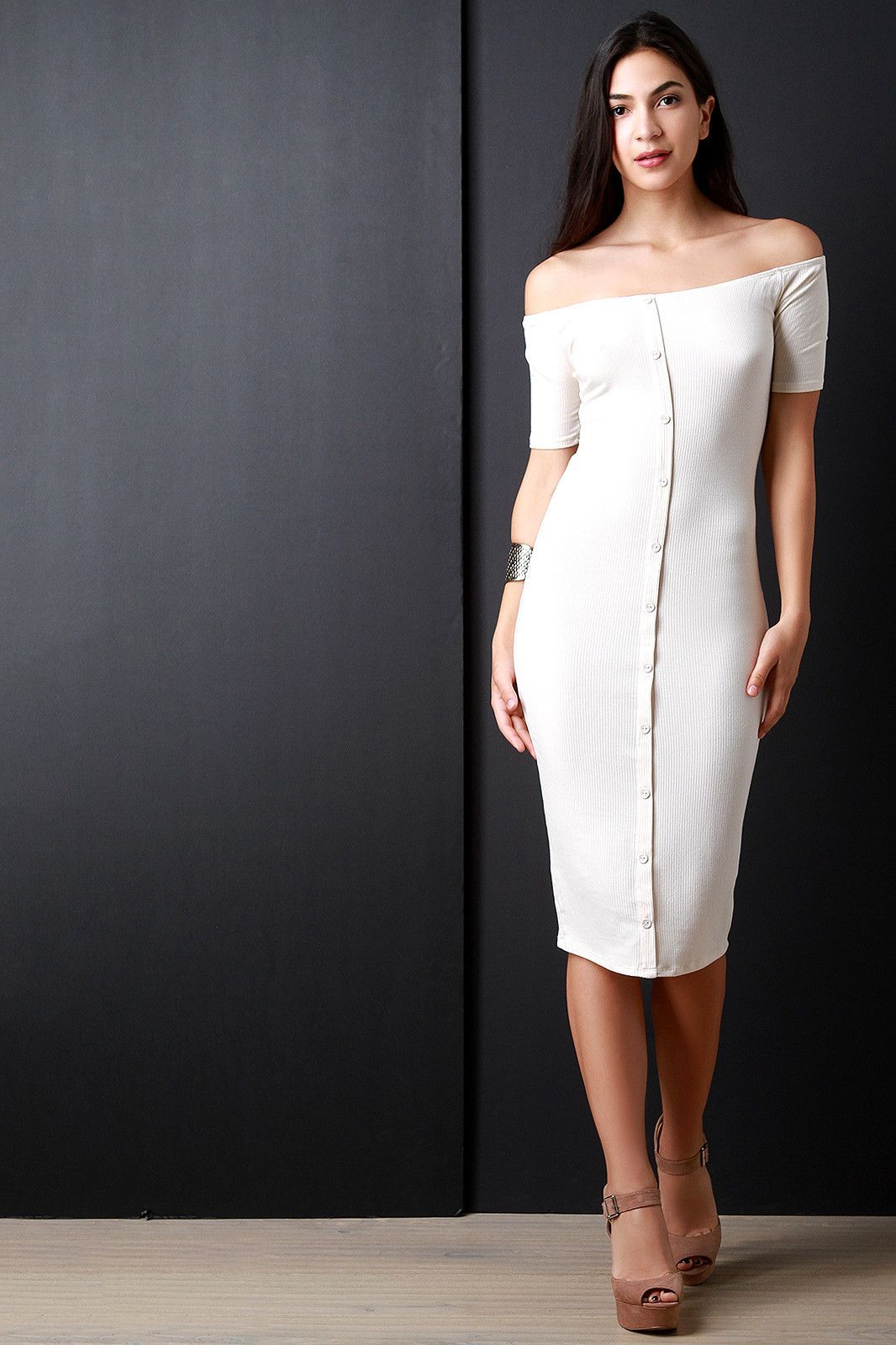 11b1a523971b Description This casual midi dress features a ribbed knit fabrication, off  the shoulder neckline,