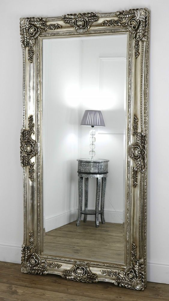 Ella champagne silver ornate leaner vintage floor mirror for Large mirror for bedroom wall