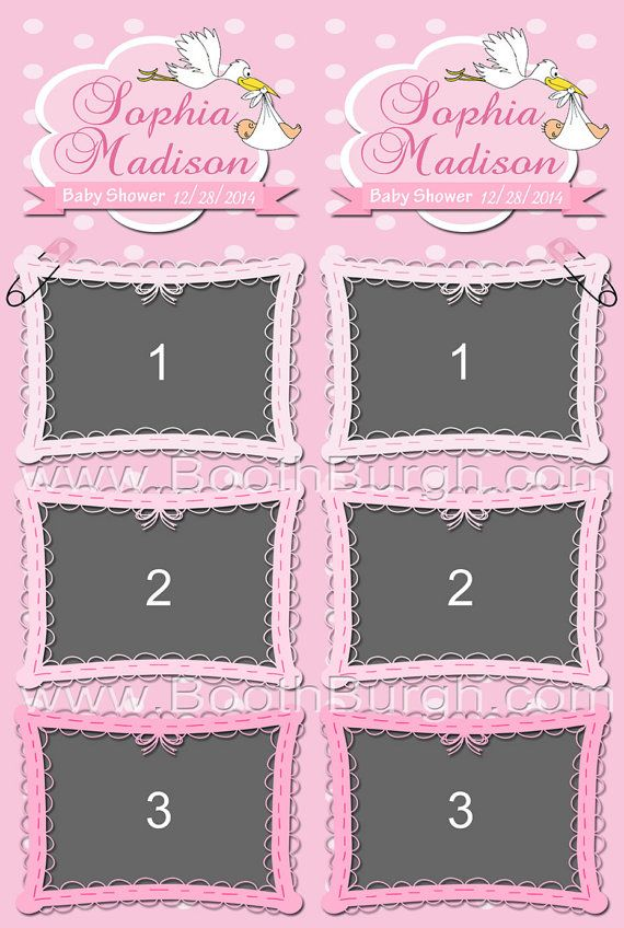 2x6 Three-Photo, Baby Shower photo booth printer templates - by ...