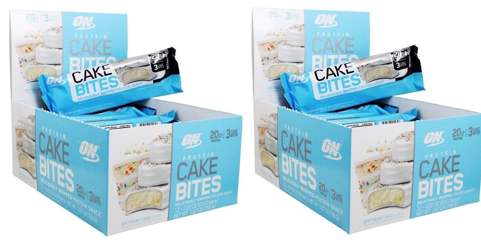 Protein Shakes And Bodybuilding 97034 Optimum Nutrition Cake Bite Birthday 24 Bars BUY IT NOW ONLY 2395 On EBay