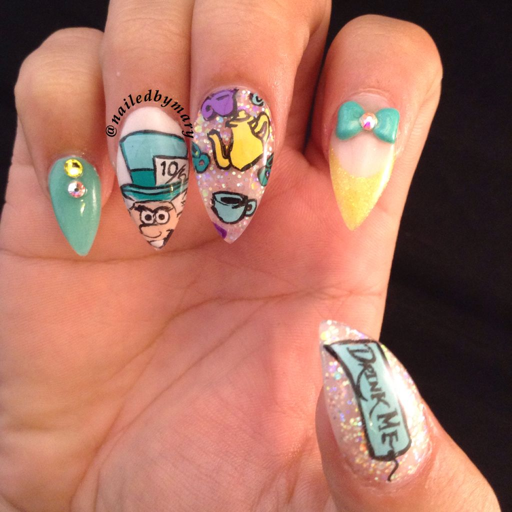 Alice In Wonderland Mad Hatter Stiletto Nails Nailed By Mary