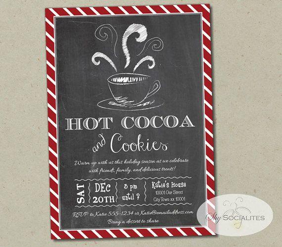 Hot Cocoa Chalkboard Invitation  Hot Chocolate Coffee Cookies