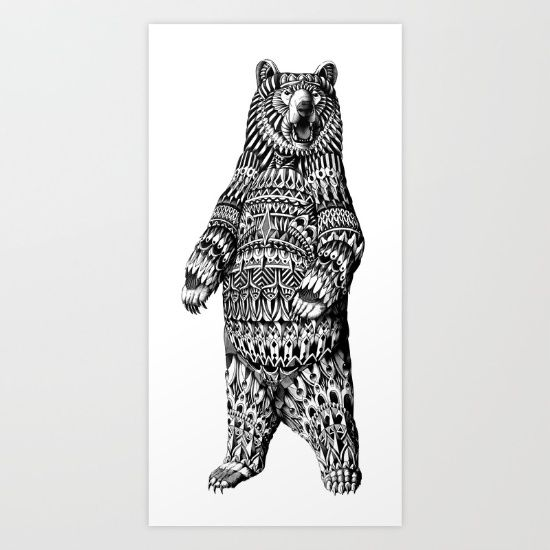 Hand drawn ornately decorated Grizzly Bear. Drawn with graphite, gel ...