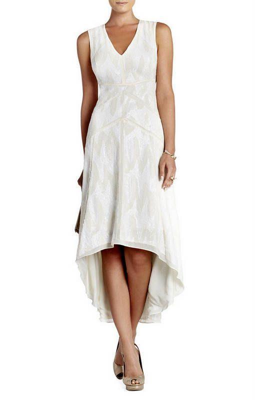 598 Nwt Bcbg Maxazria Salma Gardenia Sequin High Low Dress 0 Wjb6w112 Dresses Deep V Neck Dress Lace White Dress