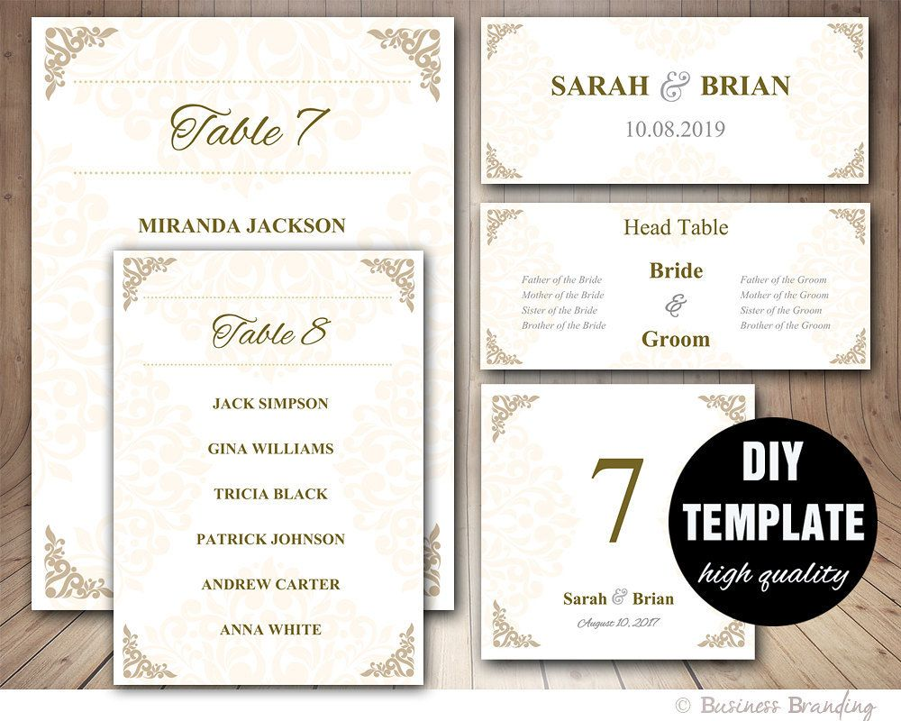 Gold Wedding Seating Chart Template  Wedding Place Card Template