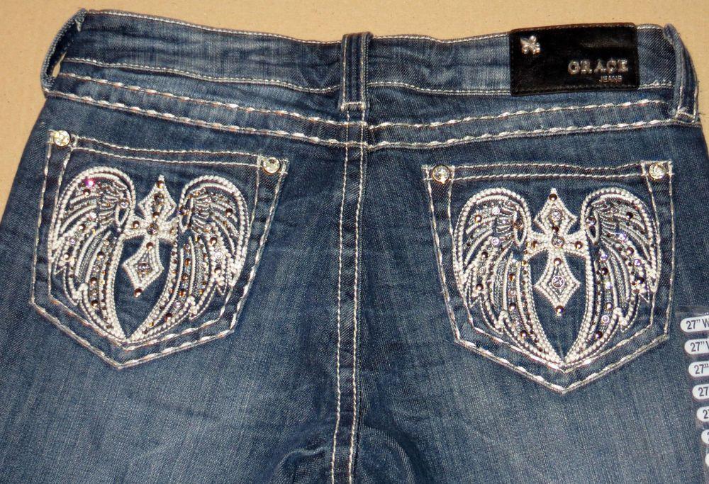 GRACE in LA JC5392 Capri CROSS WINGS Jeans Cowgirl Western LR NWT 7 / 27 $69 retail our prices are WAY BELOW RETAIL! all JEWELRY SHIPS FREE! www.baharanchwesternwear.com baha ranch western wear ebay seller id soloedition