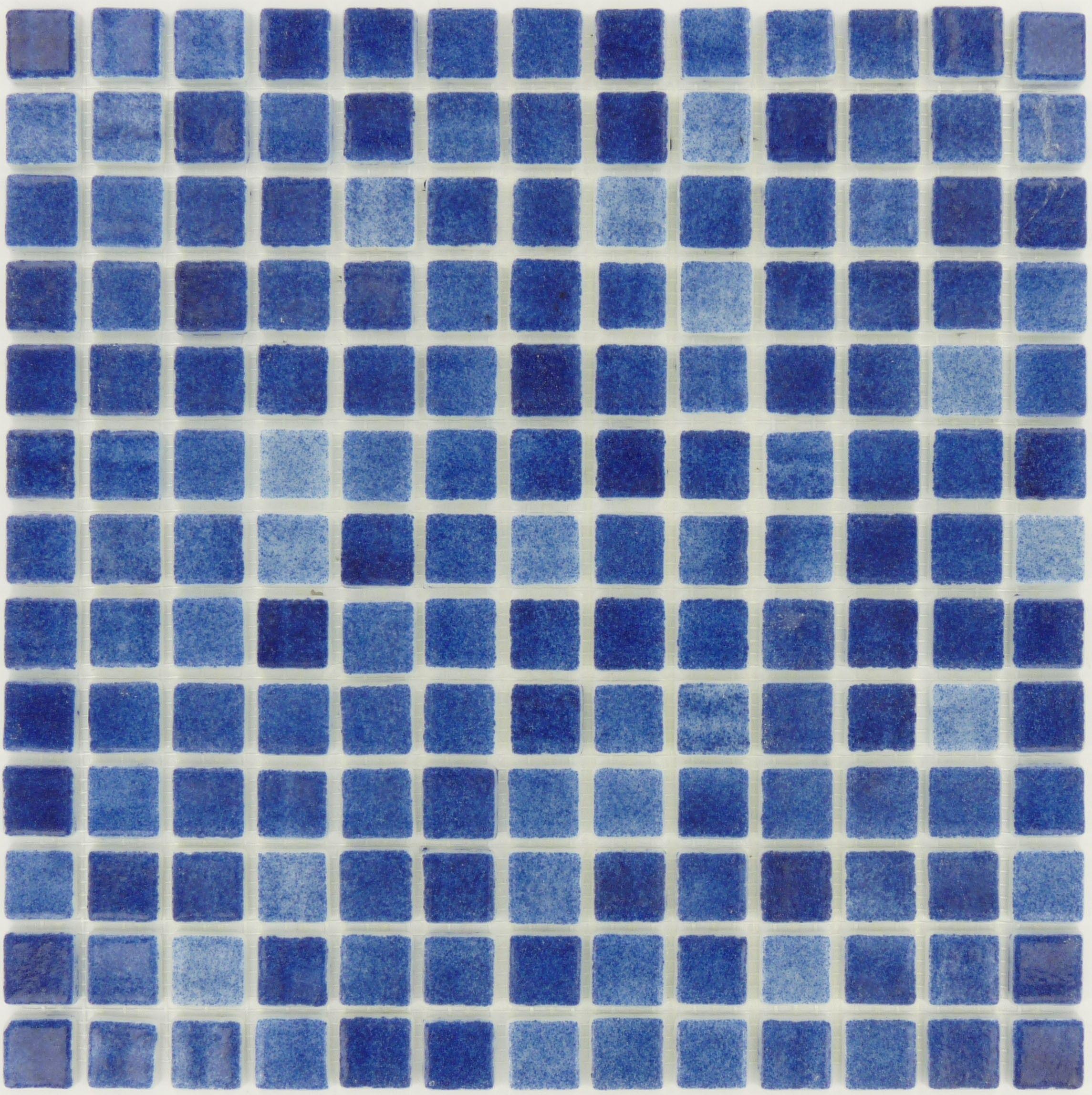 Azul Anti Slip Blue 7/8\'\' x 7/8\'\' Glass Matte Tile   Bathroom ...