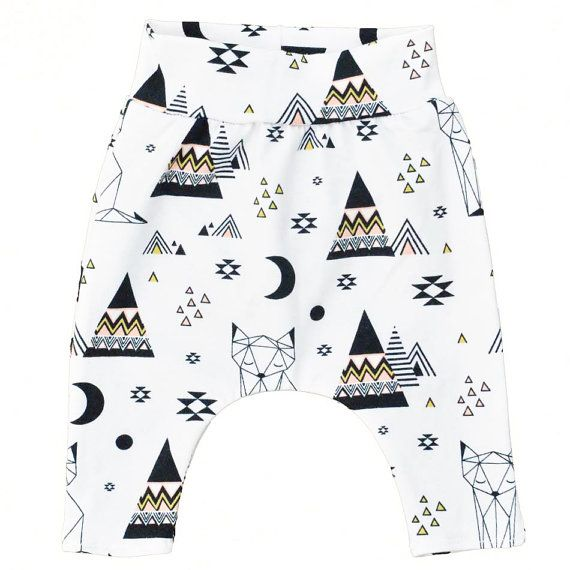Organic baby harem pants with geometric fox and teepee tent by Hey BB