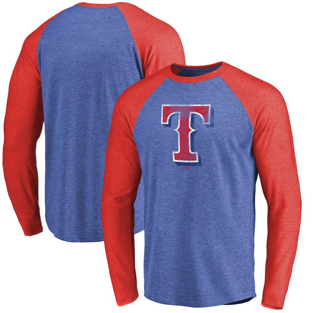 Men S Texas Rangers Fanatics Branded Royal Red Team Tri Blend Long Sleeve T Shirt Texas Rangers Red Team Team T Shirts