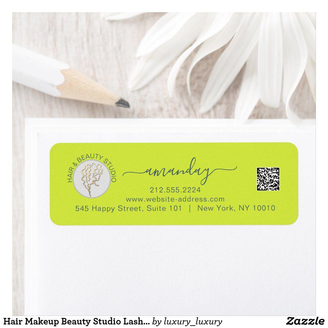 Hair Makeup Beauty Studio Lash Gold Logo QR RSVP L Label   Zazzle ...