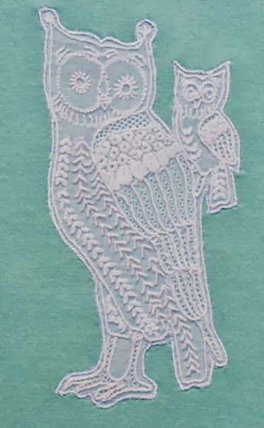 Asya Womens 2013 - The Owl ~ hand-embroidered in the traditional chikkankari style by the talented women of Jais Village in Uttar Pradesh, India.