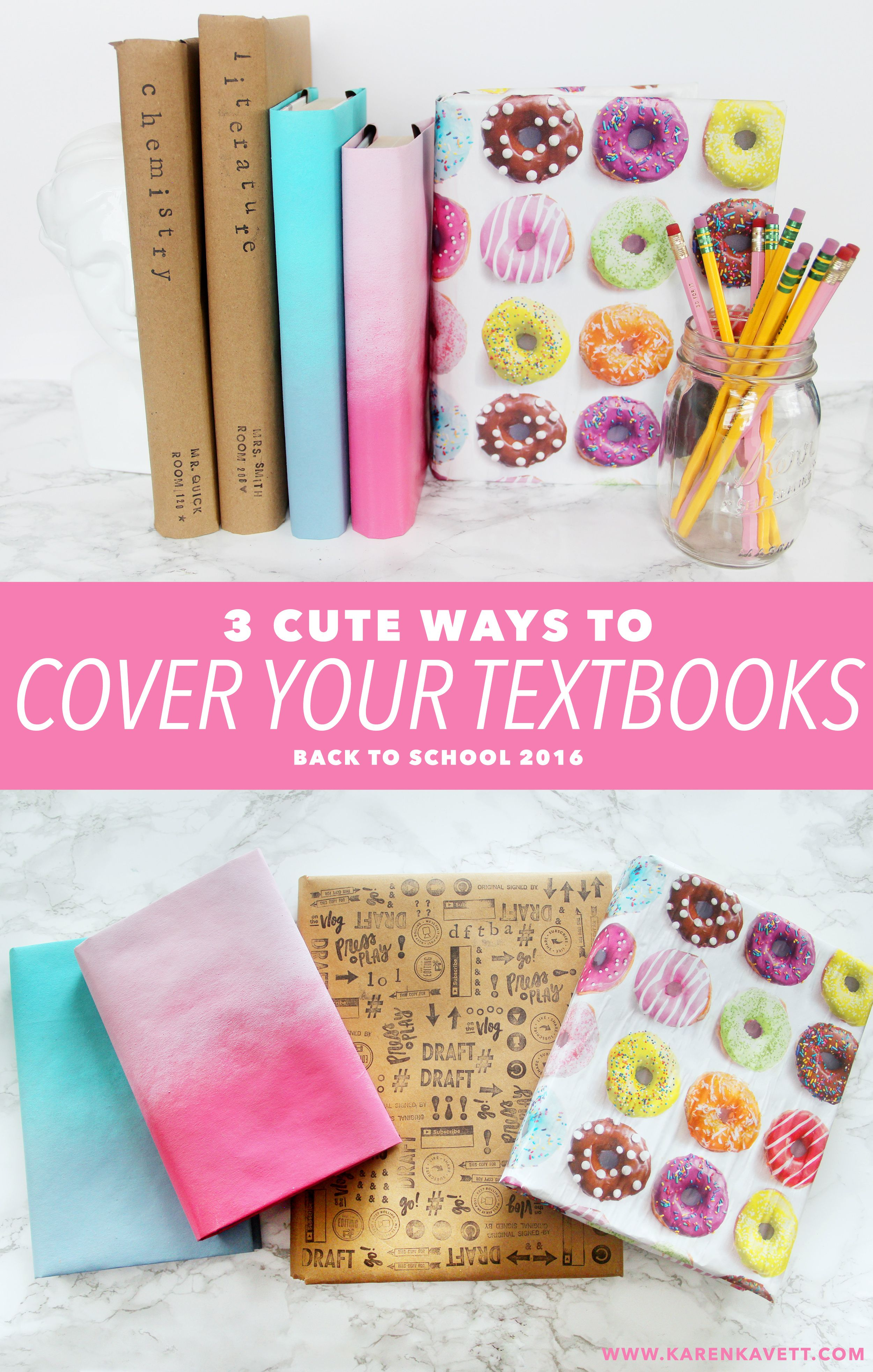 DIY Cute Back to School Textbook Covers |
