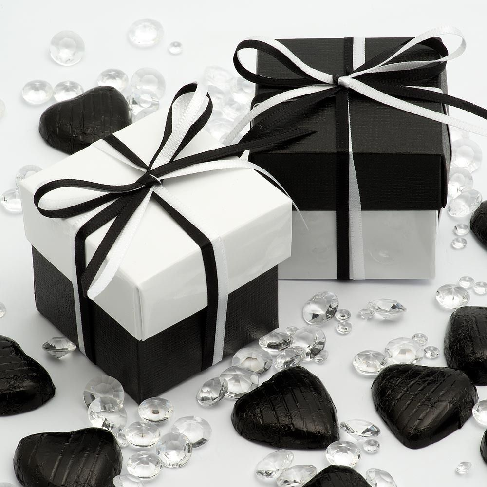 White Glossy and Black Silk Two Tone Boxes & Lids Wedding Favour ...