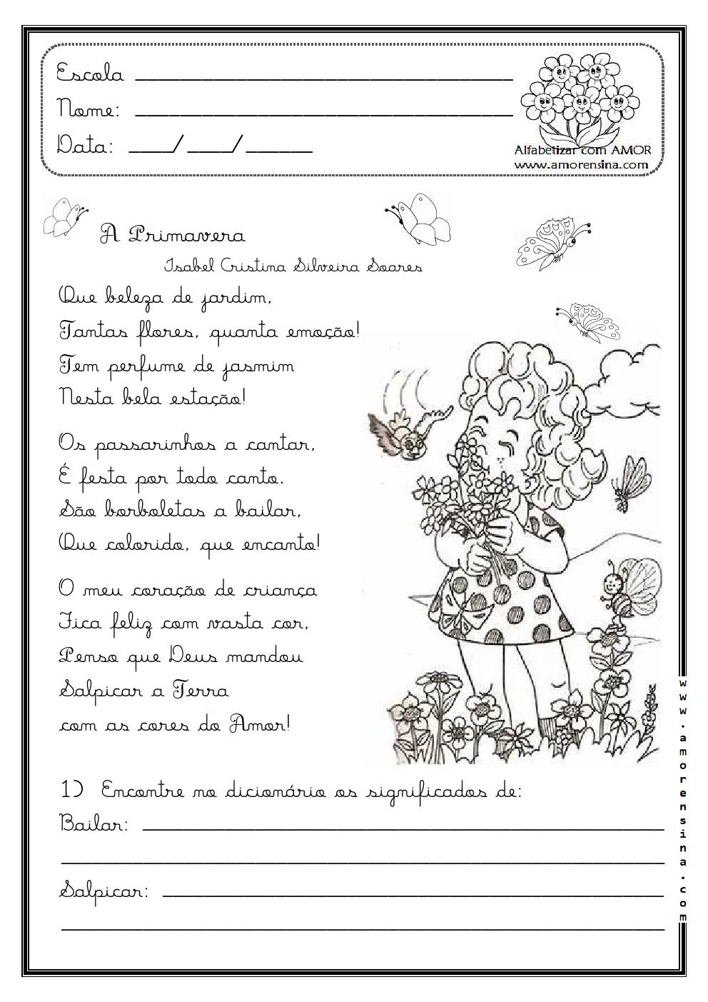 Alfabetizar com AMOR: A PRIMAVERA - POEMA E ATIVIDADES ...
