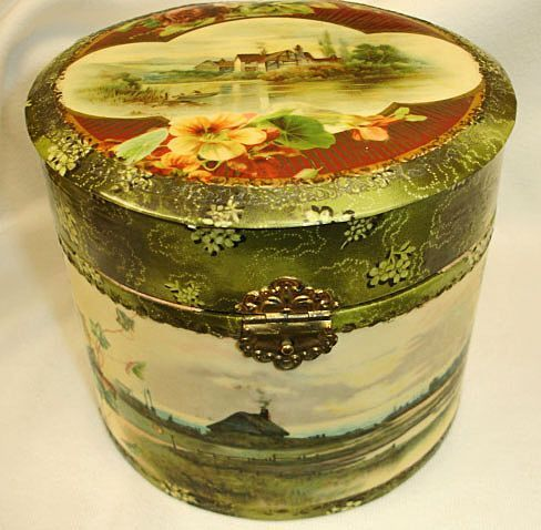 Round Decorative Boxes Gorgeous Antique Celluloid Collar And Cuff Box  Victorian Round Collar Box Design Inspiration