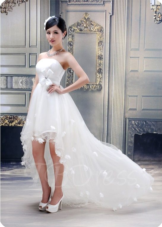 c6761eac090 Tbdress.com offers high quality Ball Gown Strapless Flowers High-low  Wedding Dress Beach Wedding Dresses unit price of   115.99.