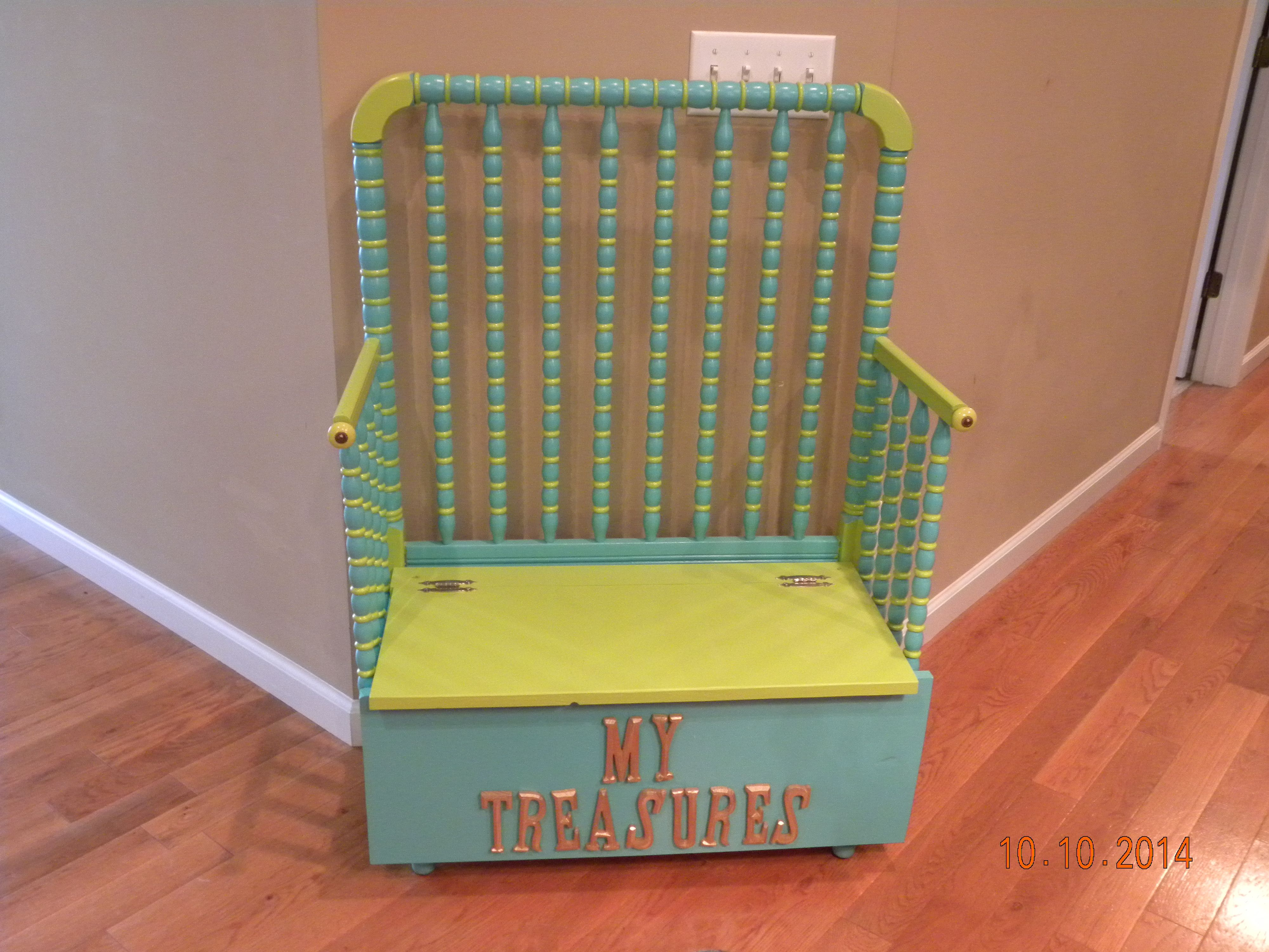 Childs Bench Toy Box Made From Baby Crib