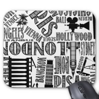 White with Black Urban Cities Mouse Pad