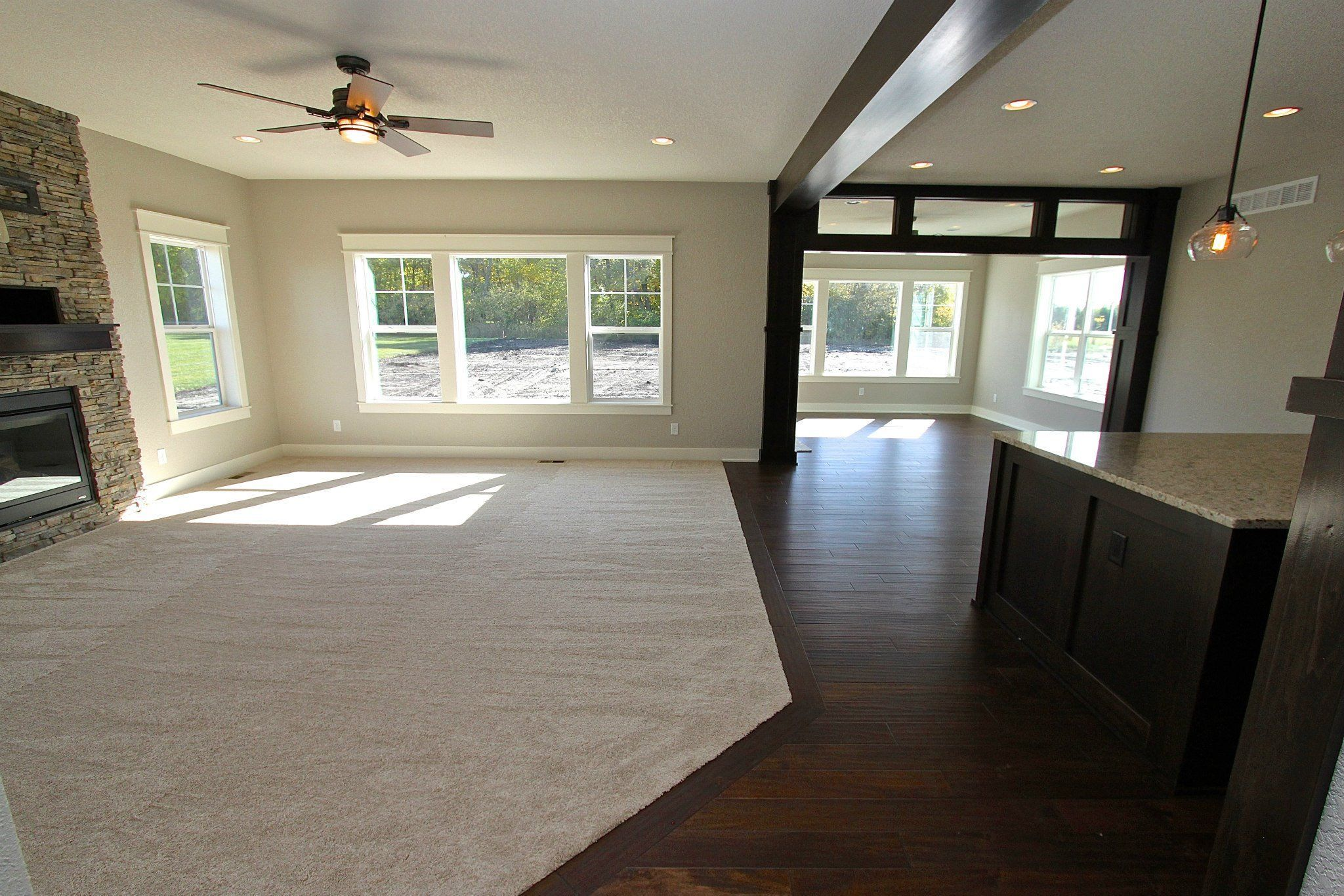 Image Result For Large Basement With Angled Carpet Transition Carpet To Tile Transition House Flooring Flooring Options