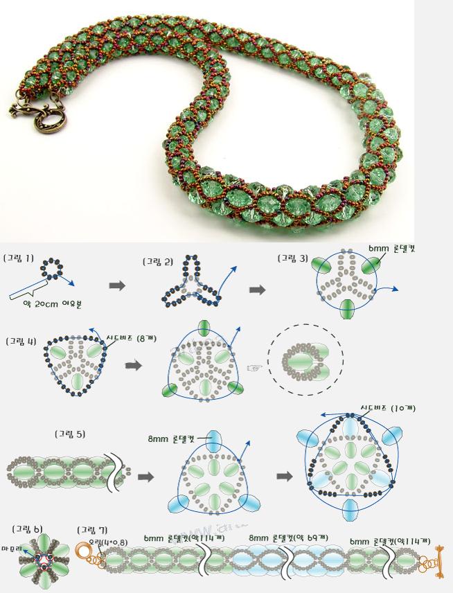 Korean schema - Easy netting with beads ~ Seed Bead Tutorials