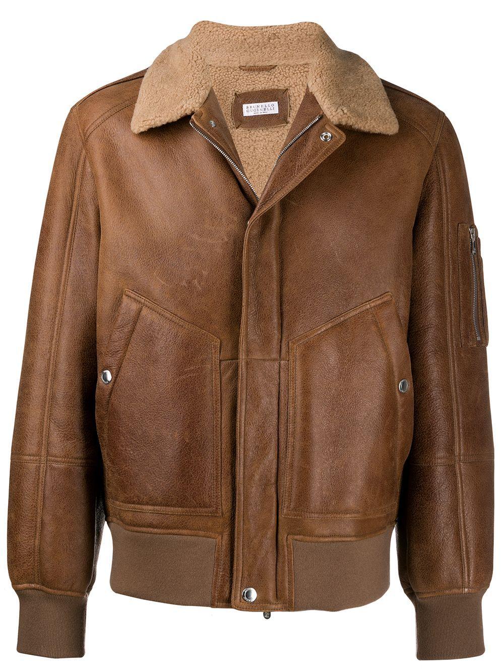 Brunello Cucinelli Shearling Collar Zip Jacket Brown Pilot Jacket Shearling Collar Designer Clothing Brands [ 1334 x 1000 Pixel ]