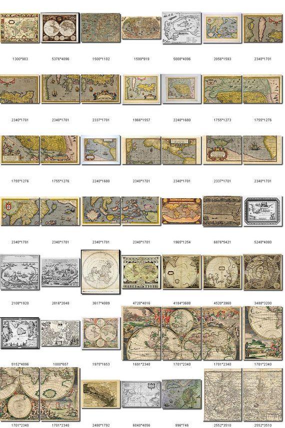 ANTIQUE MAPS Collection1 of 200 large size door ArtVintage1800s