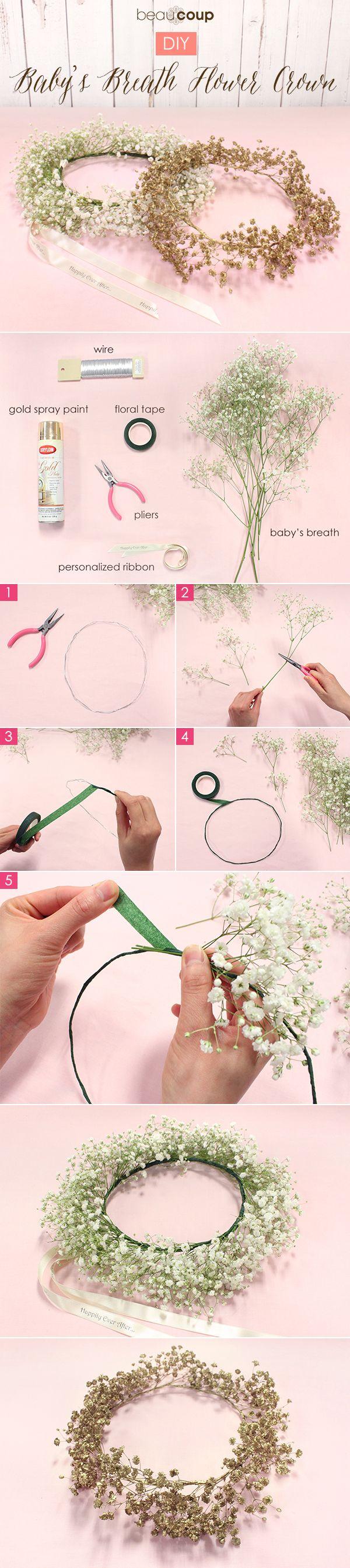 How To Diy Baby S Breath Flower Crown Diy Flower Crown Flower Crown Diy Flowers