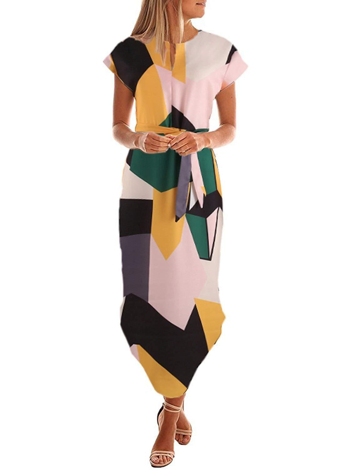 68528cb6a0928 Drimmaks Womens Short Sleeve V Neck Geometric Print Casual Midi Dress with  Belt at Amazon Womens Clothing store -- Amazon Affiliate link.