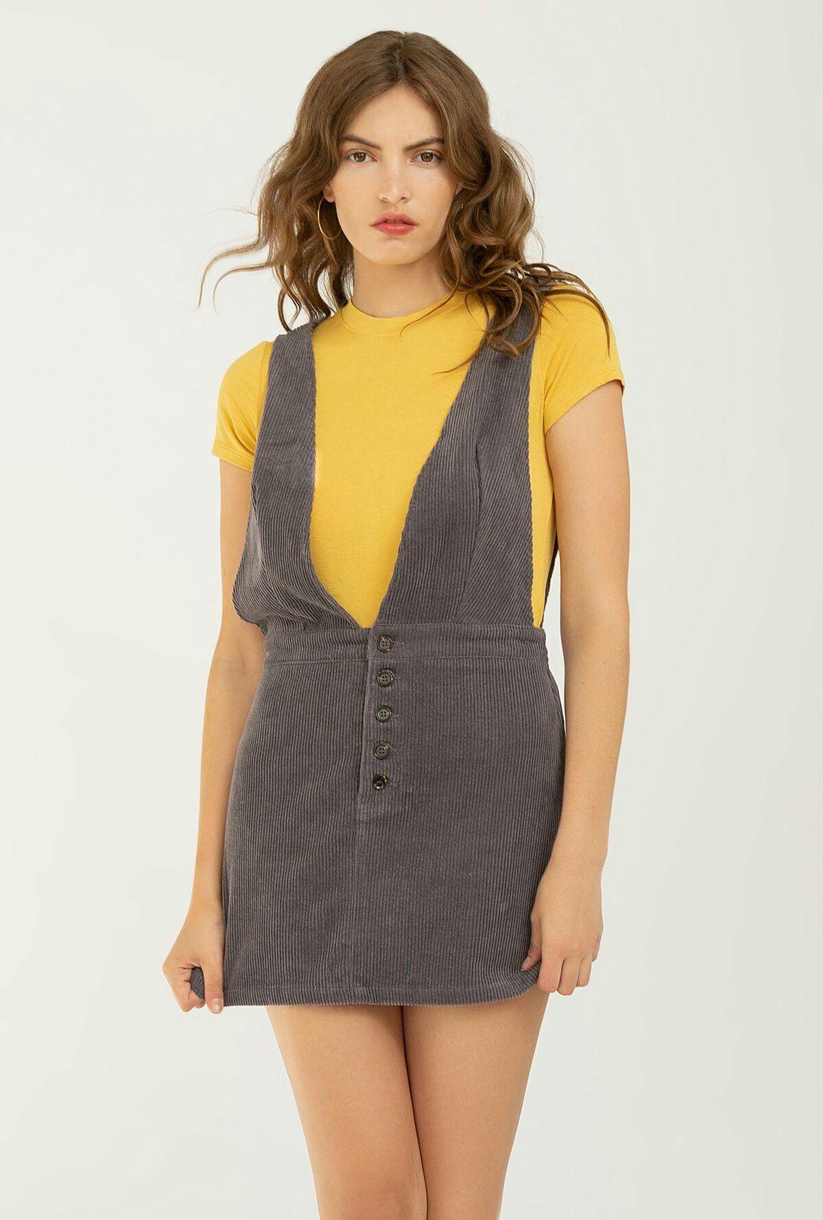 3a7d7d46a Corduroy Overall Dress, Plunge Dress, Jumper Dress, Plunging Neckline,  Overalls, Plunging