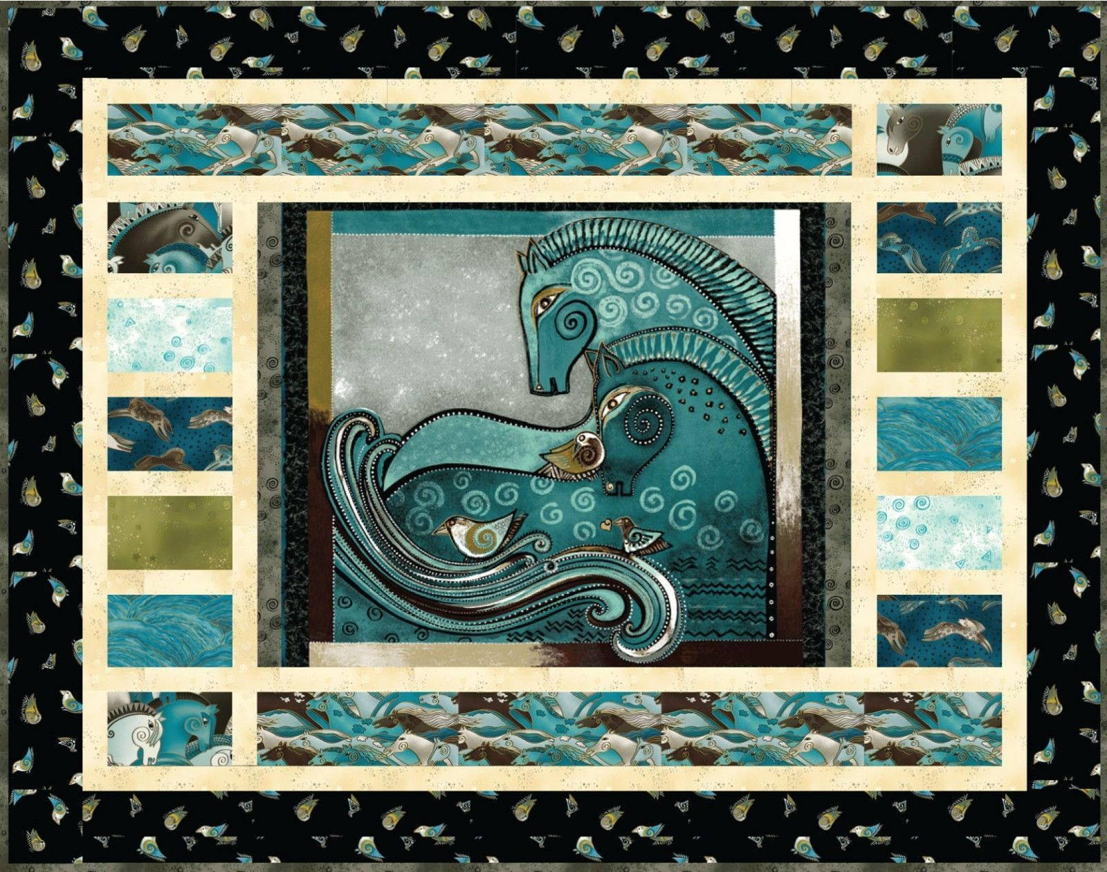 Embracing Horses Teal Quilt Wallhanging Kit Laurel Burch Fabric ... : quilted wall hanging kits - Adamdwight.com