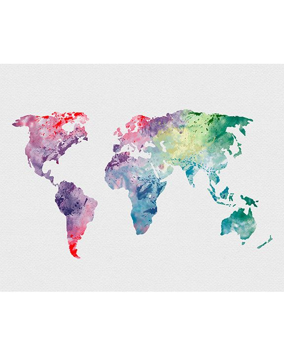World map 1 watercolor art print watercolor art watercolor and world map 1 watercolor art print gumiabroncs Choice Image