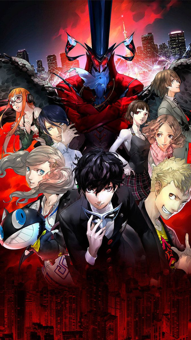 Persona 5 Wallpaper For Smartphone Please Note This Is Made With Official Artworks X2f Renders Persona 5 Anime Persona 5 Persona 5 Game