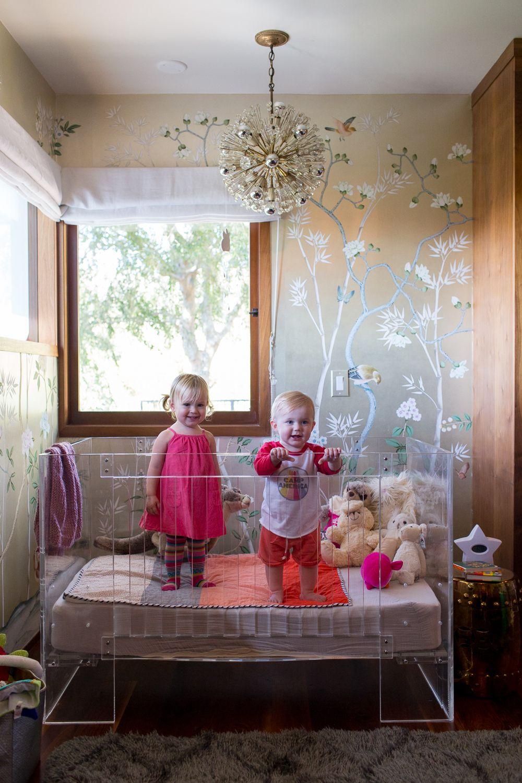 modern glam nursery lucite metallic childrens room lucite crib metallic wallpaper - Metallic Kids Room Interior