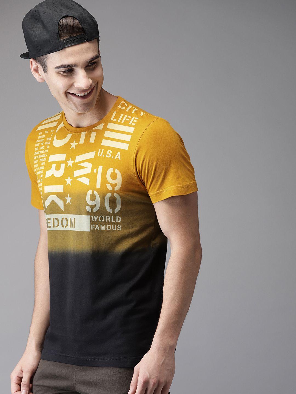 Buy herenow men mustard yellow black printed round neck
