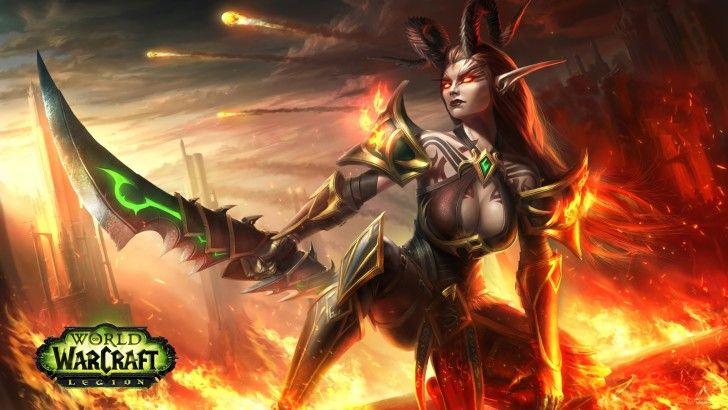 wow legion blood elf demon hunter girl fantasy wallpaper wow