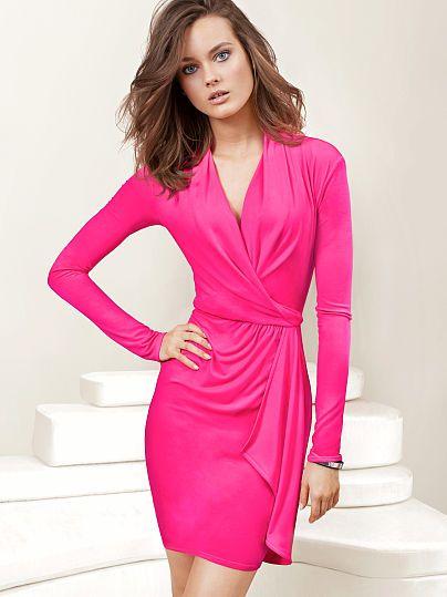 Faux-wrap Dress- Victoria's Secret | Trend We Love: Red & Pink ...