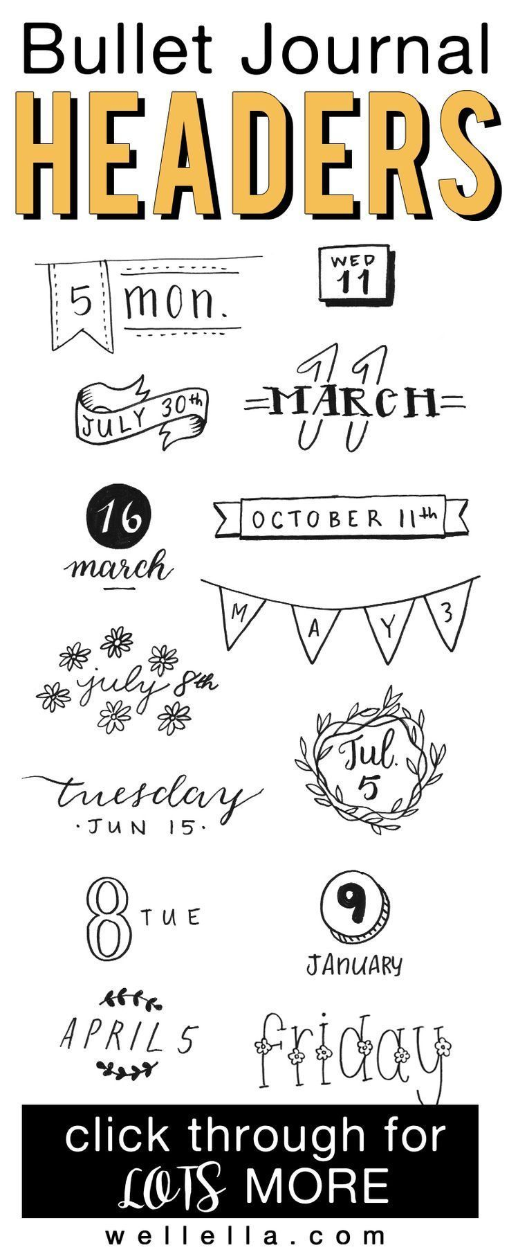 Bullet Journal Headers You Can Easily Copy + Examples -  Bullet journal headers ...