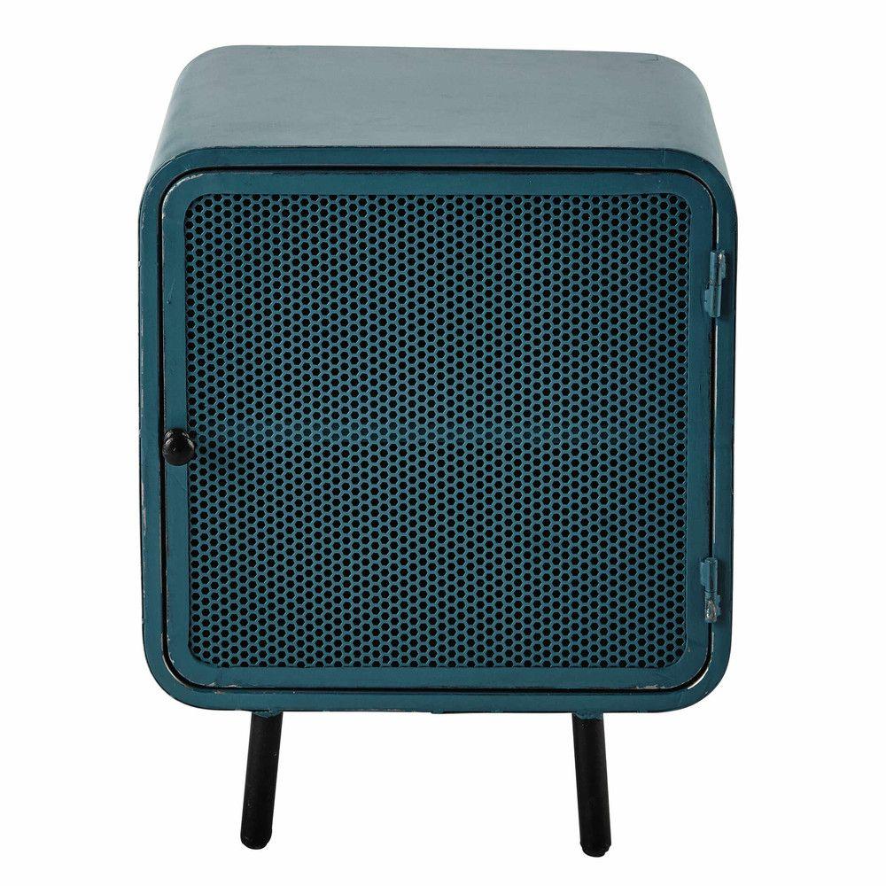 Nachttisch aus metall b 44 cm blau tische nachttisch for Metall tische gunstig