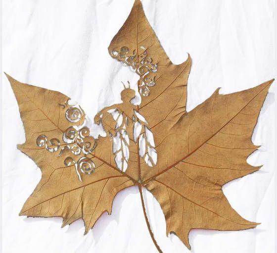 Arte en hojas, pero en hojas de árboles Hoja, Guadalajara y Talentos