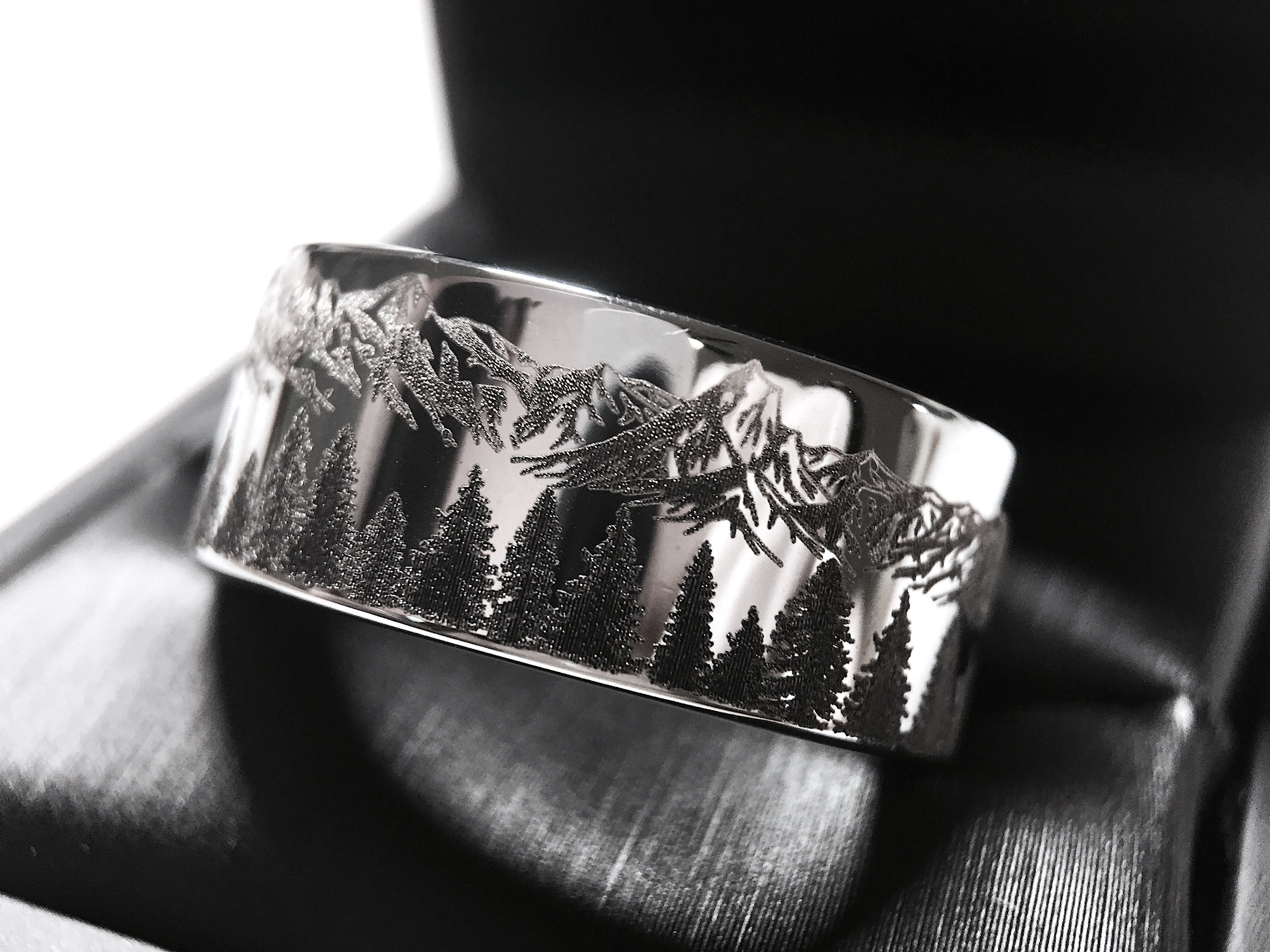 Tungsten Ring Fir Trees in Mountains Forest landscape Engraved His and Hers Promise Ring Mens Wedding Band Mens Ring Whisky Barrel Ring